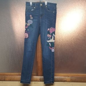Heavily embroidered high waisted ankle jeggings